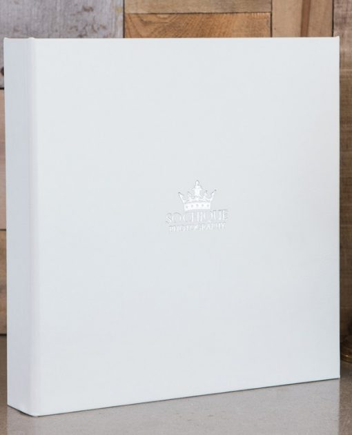 White Leatherette with Logo (Silver Foil Stamp)